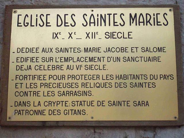 Placa Igreja Saints Maries